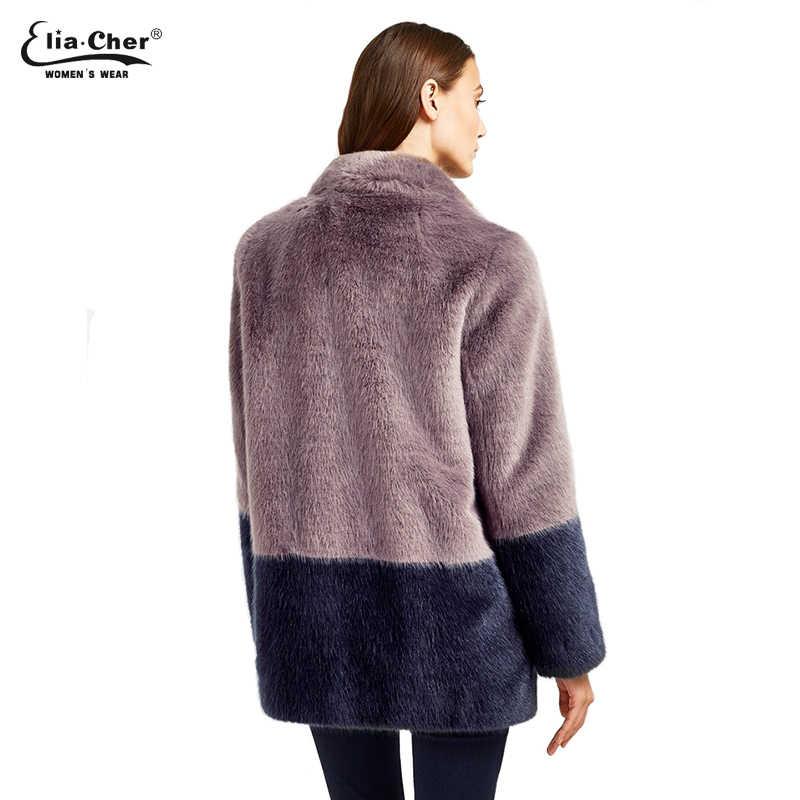 Зимняя куртка женские шубы из искусственного меха осенние пальто Женская бренд Eliacher Плюс Размер Женская одежда шикарная Толстая парка с длинными рукавами 6935