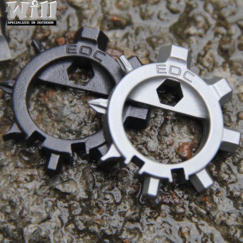 Multi function stainless steel EDC toos 12 function screwdriver key ring bottle opener bicycle adjust tools