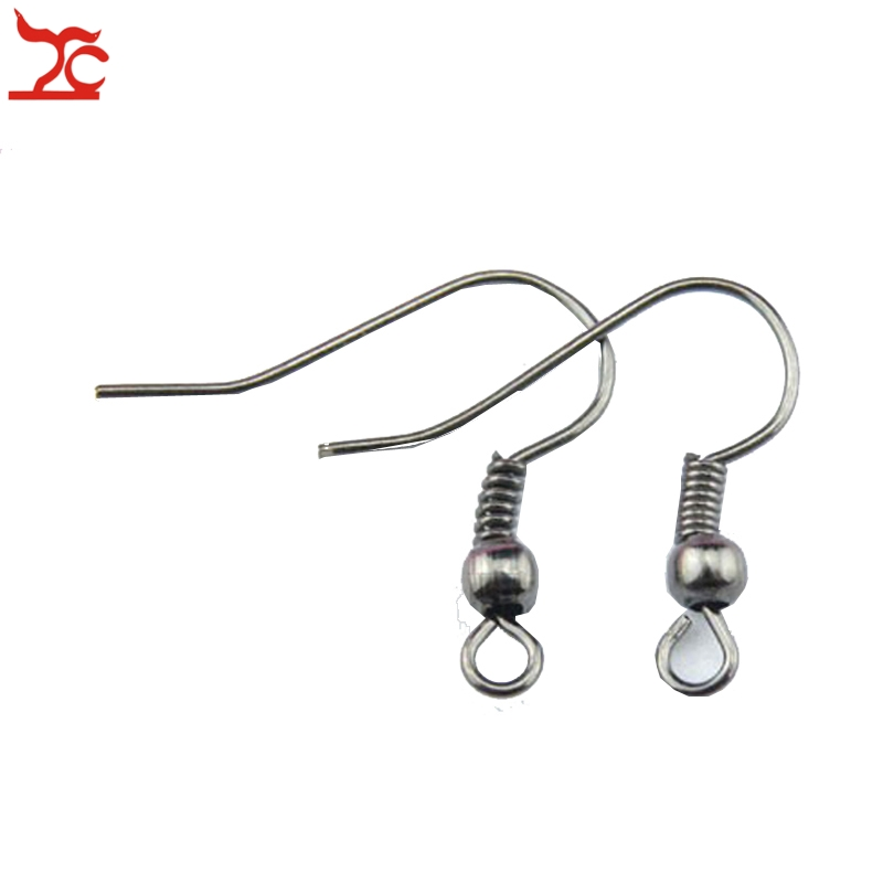 1000PCS Jewelry Accessories Gun Metal 18mm Pitch-black Wire Hooks/Stopper Clips/Earring Posts W/Stoppers Earring Hooks