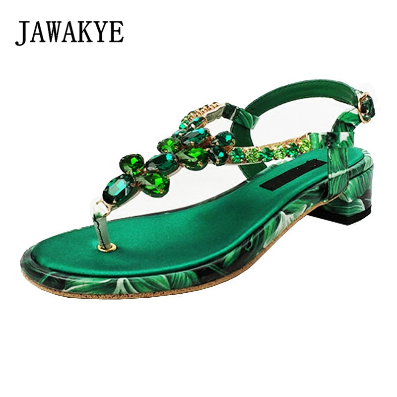 Bohemia new summer Green Crystal Flower Sandals Women Rhinestone T-shaped buckle Square Low heel Summer Flip flops Beach Shoes Bohemia new summer Green Crystal Flower Sandals Women Rhinestone T-shaped buckle Square Low heel Summer Flip flops Beach Shoes