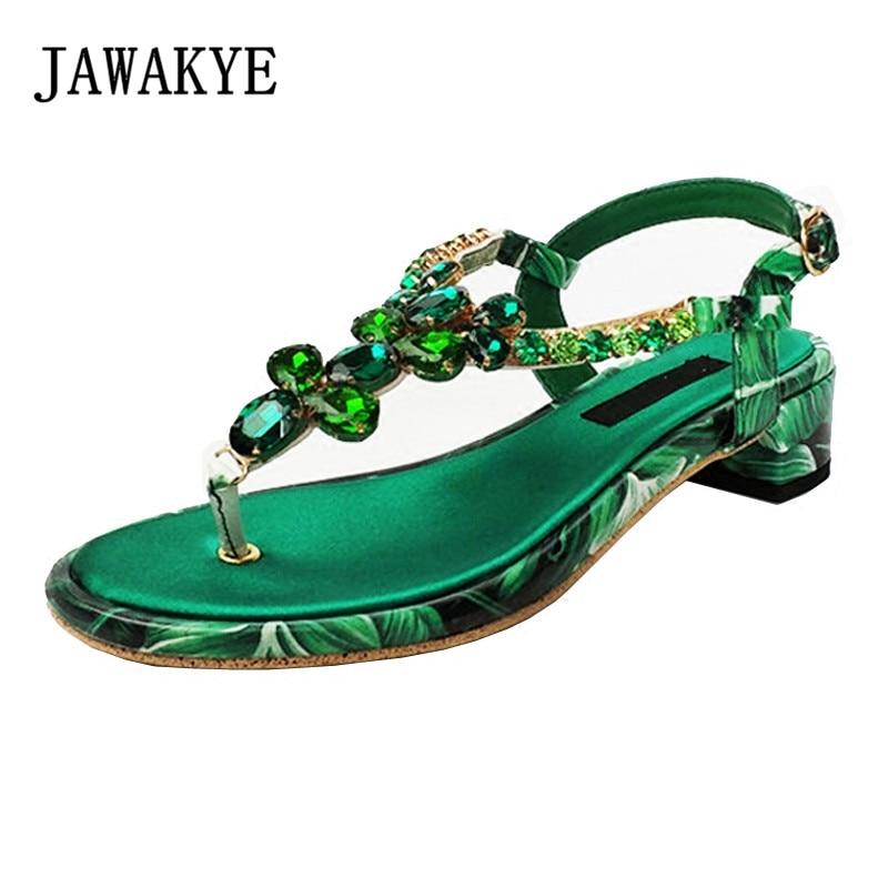 Bohemia new summer Green Crystal Flower Sandals Women Rhinestone T-shaped buckle Square Low heel Summer Flip flops Beach Shoes