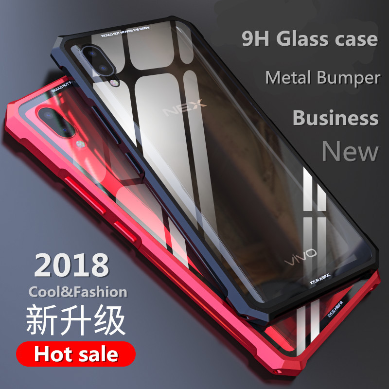 Heavy duty protection for iphone 7 case X oneplus 6 clear tempered glass with metal frame armor for xiaomi mi8 mi mix 2s NEX R15
