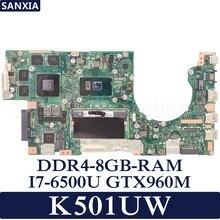 Kefu K501UW материнская плата для ноутбука ASUS K501UW K501UX K501UB K501U K501 Тесты Оригинал материнская плата DDR4-8G-RAM I7-6500U GTX960M