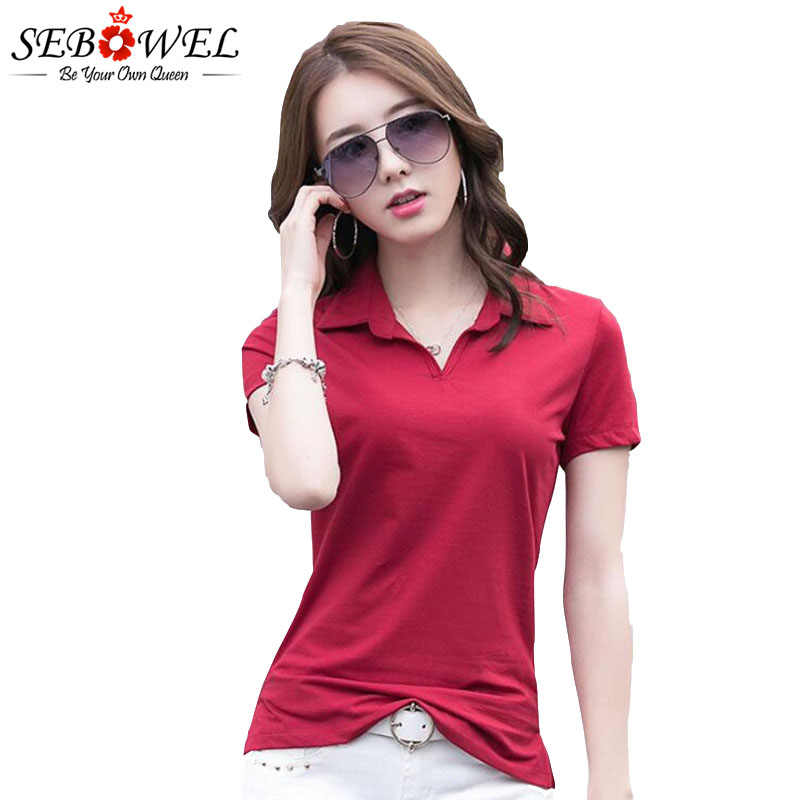 Women's Polo Shirt Fashion Solid Lapel Summer 2020 Slim Office Lady Casual  Tops Clothes Female Jersey Shirts Bottom Match Polos|Polo Shirts| -  AliExpress