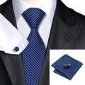 Excelente Calidad Para Hombre Corbata de Seda Clásico Raya Bule Wedding Party Negocios Corbata Hanky Gemelos Set para hombres C-404