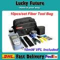 10 pçs/set FTTH Ferramenta com FC-6S FIBER Cleaver Optical Power Meter 10 mW VFL Localizador Visual de Falhas E Fio Strippers
