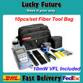 10pcs/set  FTTH Tool Kit  with FC-6S Fiber Cleaver Optical Power Meter 10mW VFL Visual Fault Locator And Wire Strippers