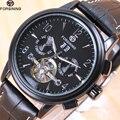 2018 Forsining Tourbillion модные волнистые черные часы многофункциональный дисплей Мужские автоматические механические часы Топ бренд класса люкс