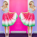 2016 New Women Summer Skirt watermelon Style Gradient  Stretch High Waist Mini Skirts Plain Skater Flared Pleated Mini Skirt
