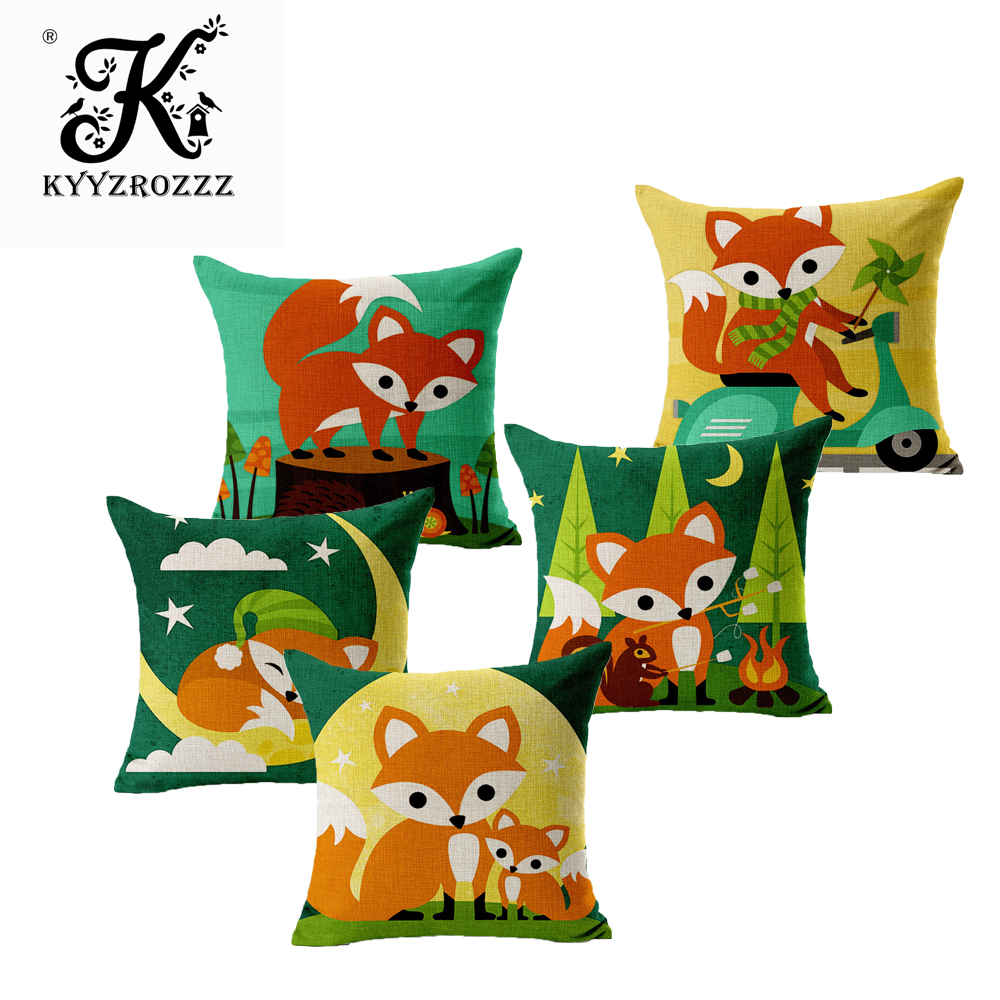 Fashion Cushion Cases Home Decoration Throw Pillow Cover Cars European Red Foxes For Throw Pillow