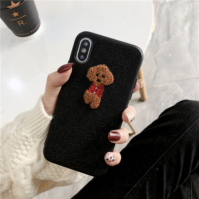 Cute Glittered Embroidered Dog Printed iPhone Case