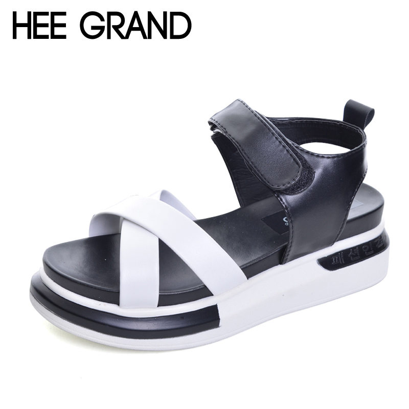 HEE GRAND Platform Gladiator Sandals 2017 New Creepers Summer Fashion Shoes Woman Casual Slip On Women Flats Shoes XWD5665 phyanic 2017 gladiator sandals gold silver shoes woman summer platform wedges glitters creepers casual women shoes phy3323