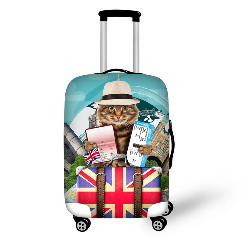 Case Cover For Suitcase Protective Cover For Luggage Cover With Zipper 3D Pet Cat Prints Luggage Cover Suit 18-32 Inch