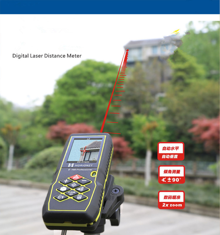 Free Shipping Professional 100m Handheld laser range finder Digital aiming laser ranging Bubble level font b