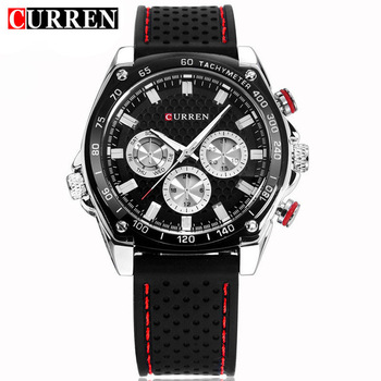 CURREN Luxury Brand Silicone Strap Watches Analog Date Men's Quartz Watch Casual Watch Men Wristwatch relogio masculino 8146
