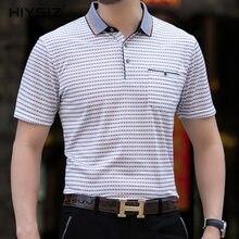 цены на HIYSIZ T-Shirt Men 2019 Casual Streetwear Solid with a Pocket Contracted Stylish Trend Turn-down Collar Tshirts Men Summer ST222  в интернет-магазинах