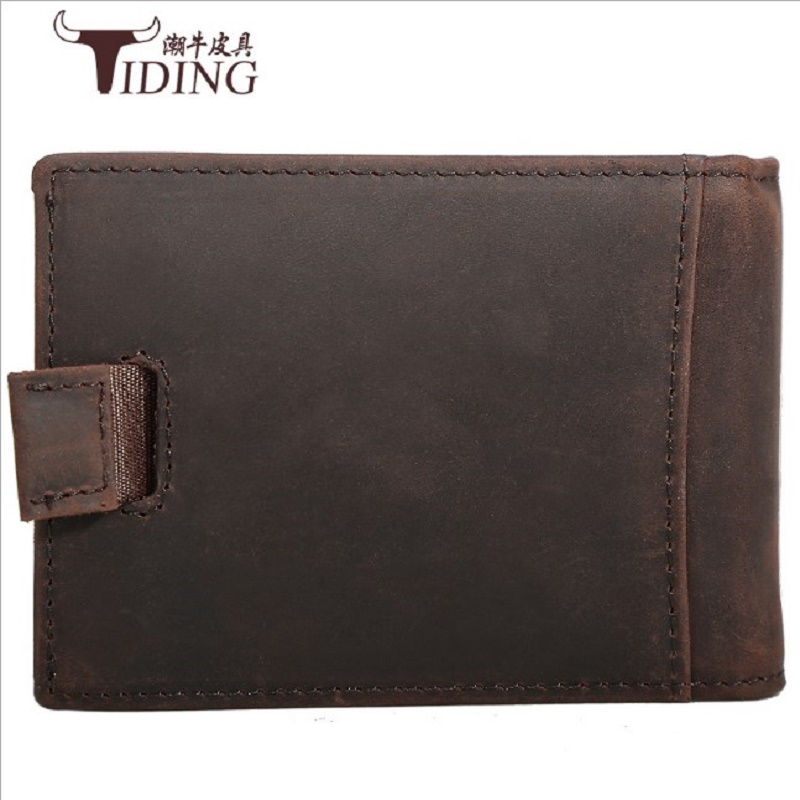 Men Travel Wallet Genuine Leather Bags 2019 man fashion crazy horse leather brand short mini money clips Business wallet bags in Wallets from Luggage Bags
