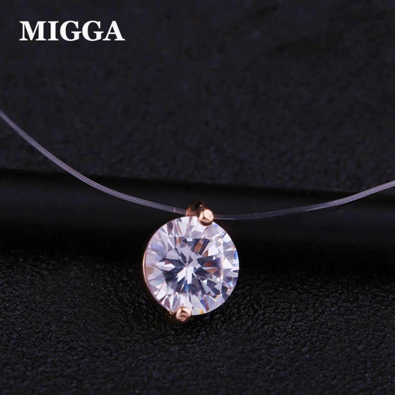 MIGGA Shining CZ kamień kryształ naszyjnik cyrkoniowy niewidzialna, przezroczysta żyłka wędkarska łańcuch naszyjnik dla kobiet