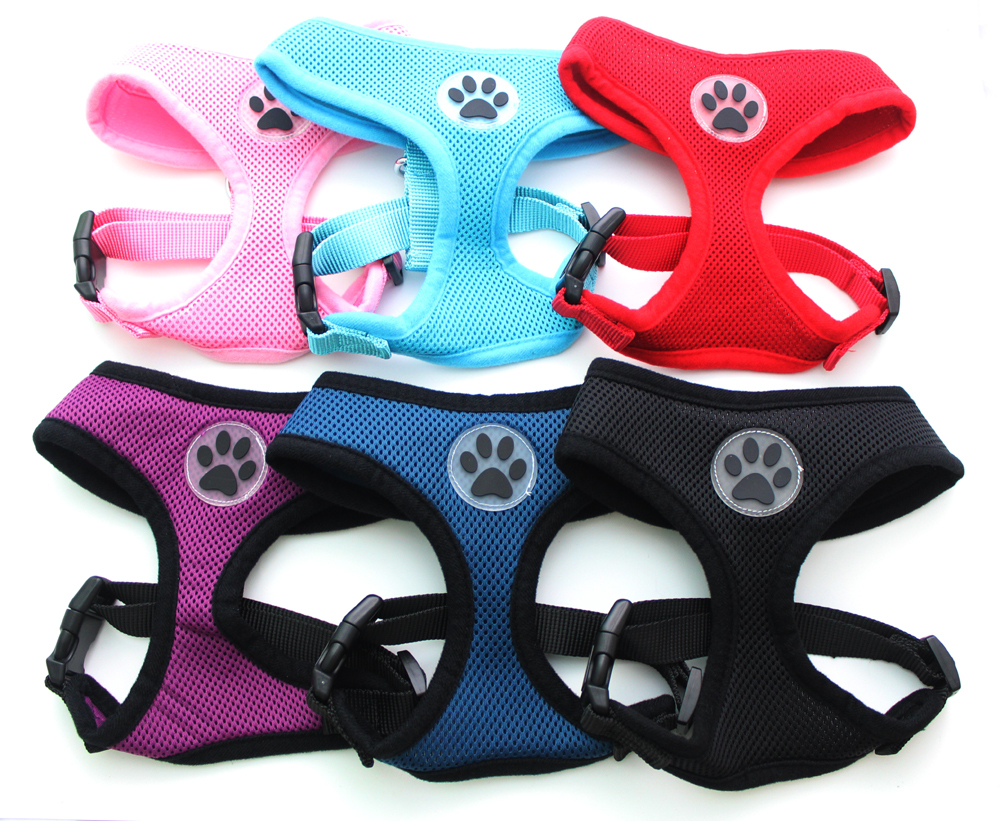 Dog Cat Control Harness Pet puppy harnas Soft Paw Rubber Mesh Walk Kraag 6 kleuren 5 maat