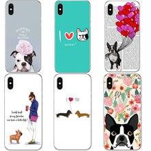 4ca39be9117 Funda de teléfono dura superlinda dachshund para iPhone X 8 8 Plus perro  BULLDOG Boston Terrier funda para iPhone 5 5S iPhone 6 .