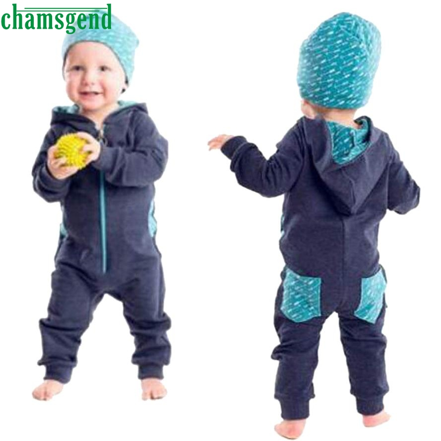 CHAMSGEND Gray Navy two style Toddler Baby Boy Splice Hooded long sleeves Romper Jumpsuit Playsuit Outfits Clothing jul25 P30