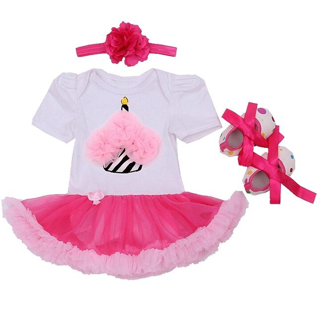 Conjuntos de Roupas Meninas Da Criança Bodysuit Rendas do queque Applique Vestido Sapato Cabeça Baby Girl Roupas Outerwear Conjunto Presente Do Bebê Recém-nascido