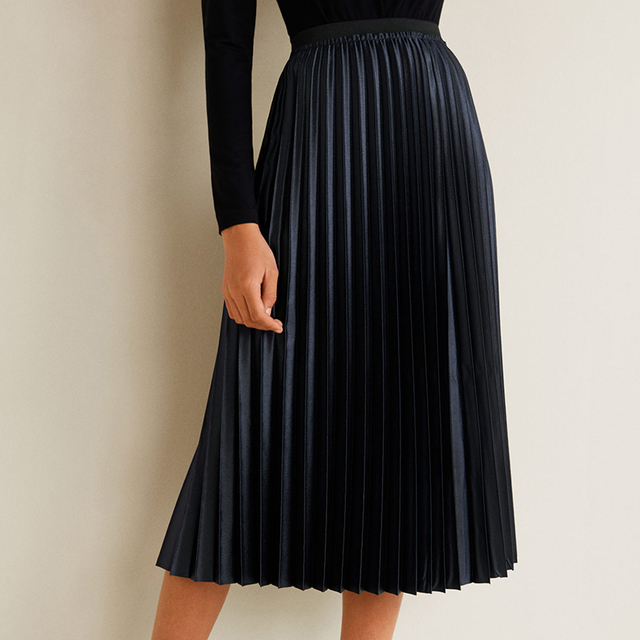 2ebc91121 2019 New Arrival Women Fashion Ankle-length Long Pleated Skirts Lady Spring  Summer Autumn Vintage