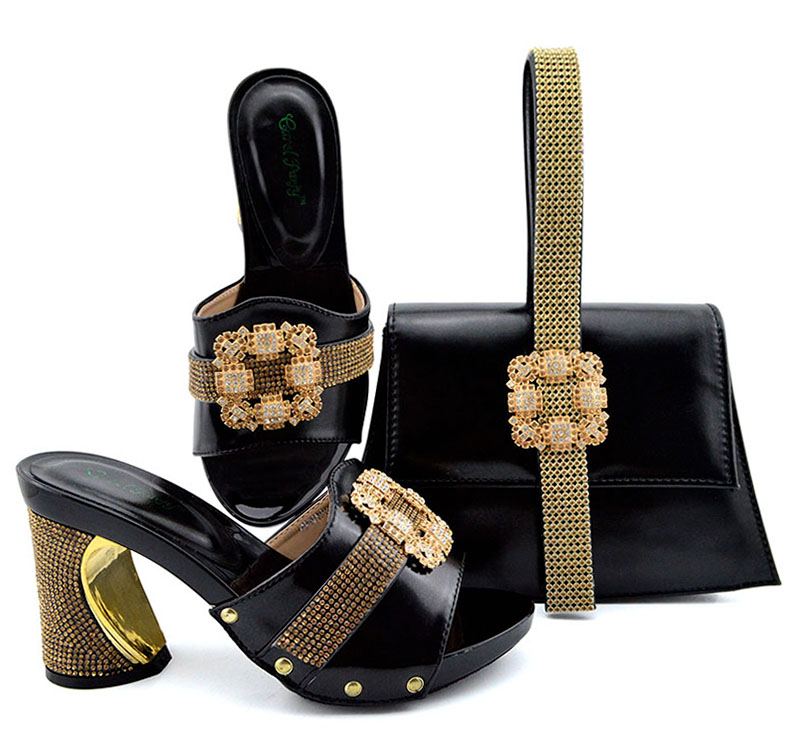 53ecbe2759 Free shipping italian shoes and bag in black color fashion african aso ebi  party slippers shoes and clutches bag set SB8362-6