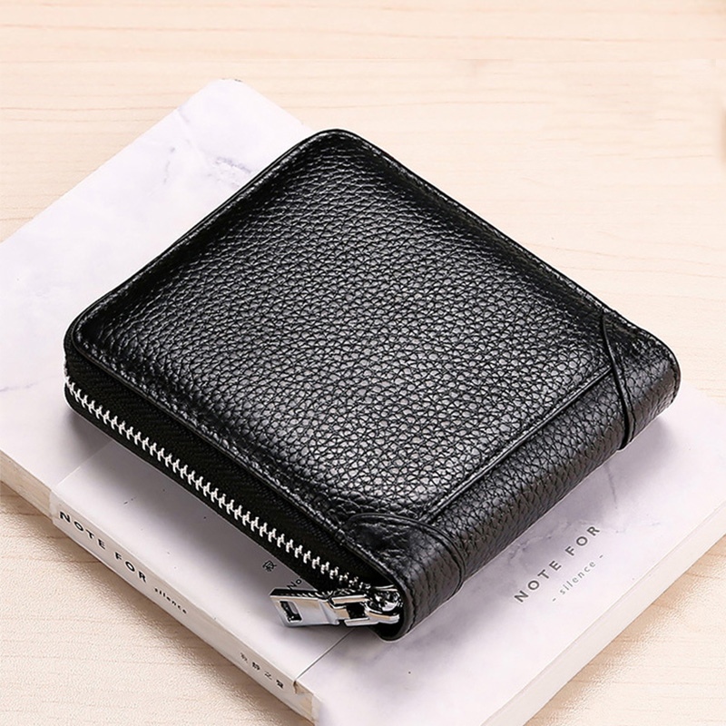 Short Wallet Coin Purse Credit-Card-Holder RFID Zipper Genuine-Leather for Men Black