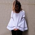Осень Повседневная С Длинным Рукавом О Шеи Рубашка Женщины Clothing Белый Flare Рукавом Высокий Низкий Сетки Вставить Топ Корейской Моды Блузка Blusas