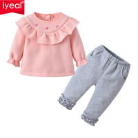 IYEAL Princess Toddler Baby Girls Clothes Set Warm Cotton Top T Shirt + Pants 2PCS Outfits Winter Kids Infant Clothing Suit