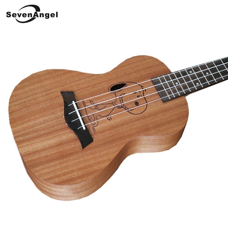 SevenAngel Brand Ukulele 4 strings Hawaiian Guitar Cartoon Patterns Ukelele Best Music Gift AQUILA strings
