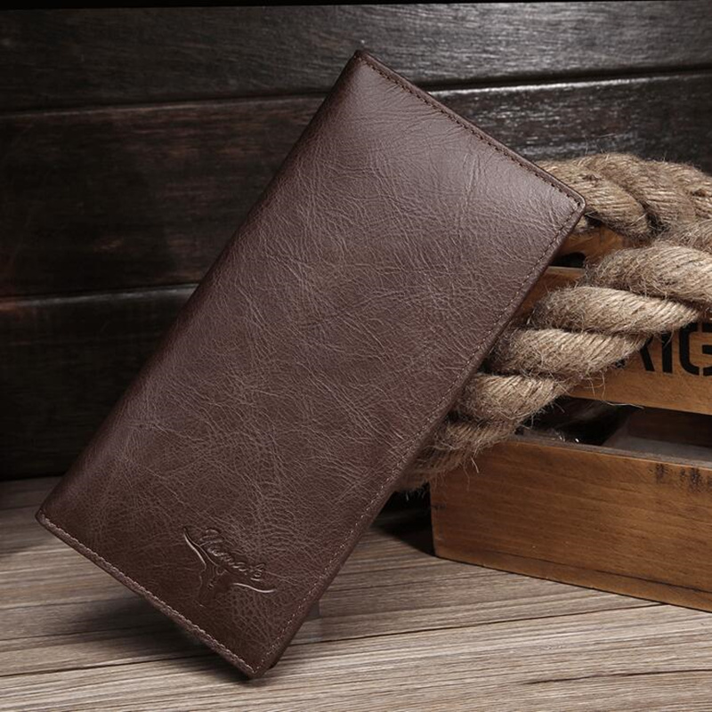 100% Genuine leather high quality Brand men long wallets purse card holder wholesale luxury designer brand wallets