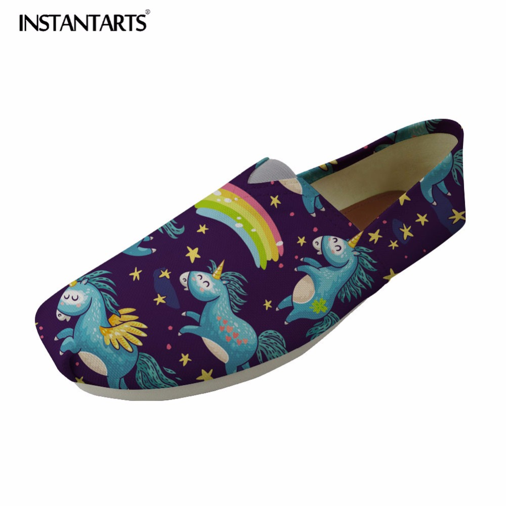 INSTANTARTS Casual Tenis Feminino Women Flats Cute Animal Horse Pattern Woman' s Leisure Fashion Loafers Canvas Shoes for Girl