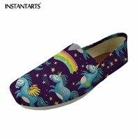 INSTANTARTS Casual Tenis Feminino Women Flats Cute Animal Horse Pattern Woman S Leisure Fashion Loafers Canvas