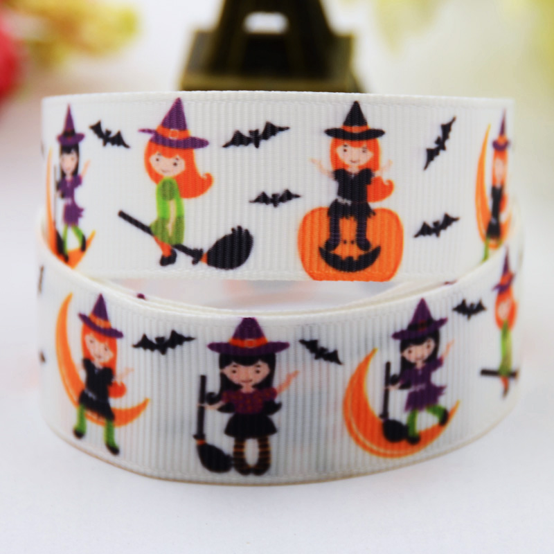 22mm Halloween Haunted Cartoon Character Printed Grosgrain Ribbon Party Decoration Satin Ribbons X-00488 10 Yards Buy One Give One Honest 7/8