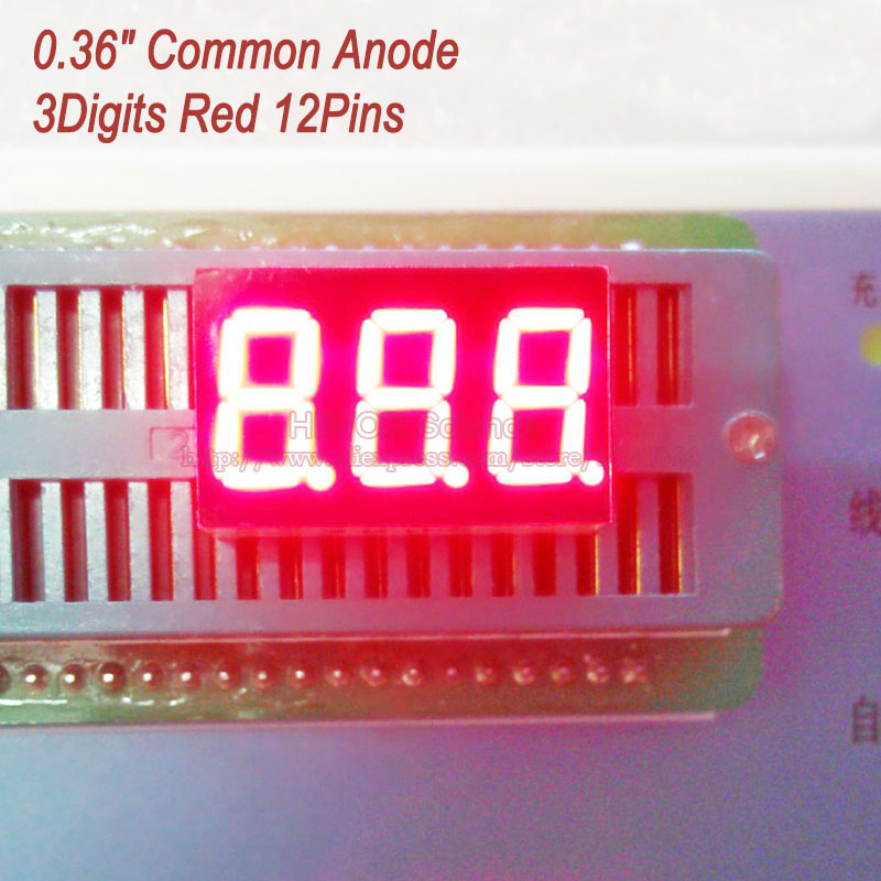 (10pcs/lot) LED Display 0.36 Inch 12 Pins 3 Digits Bits 7 Segment Red LED Display Share Common Anode Digital Display 3631BR