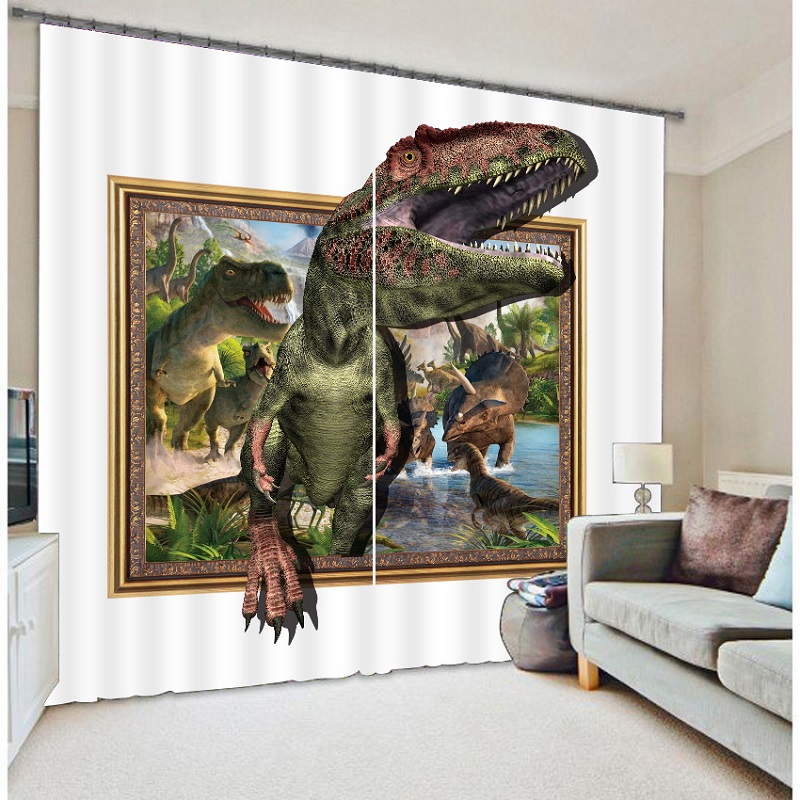Jurassic Age Dinosaurs 3d Painting Blackout Curtains Office Bedding Room Living Room Sunshade Window Bedding Custom-made Size Last Style Home Textile