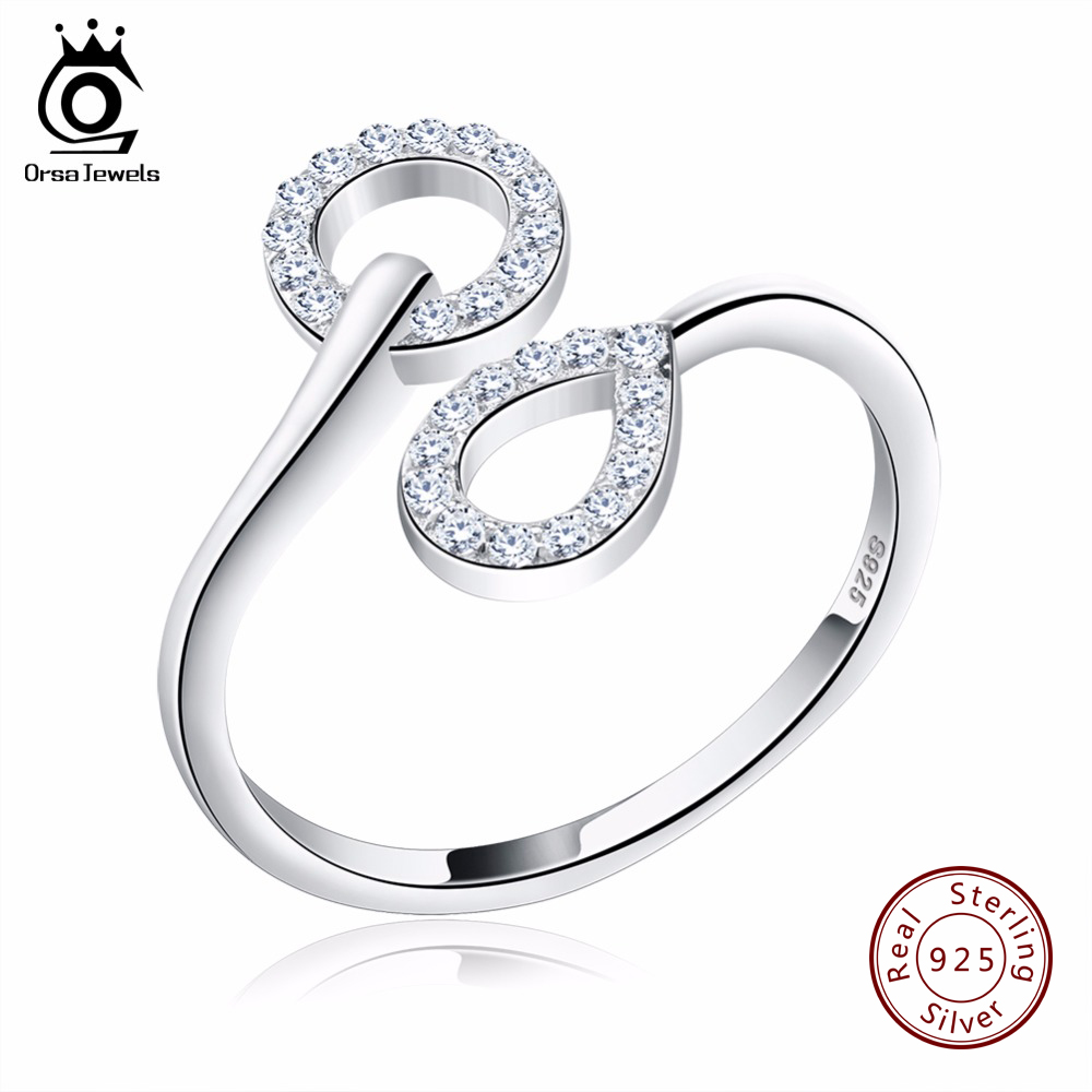 ORSA JEWELS Genuine 925 Sterling Silver Women Rings with AAA Austrian Cubic Zirconia Wedding Bands Ring Jewelry for Lady SR09 цены онлайн