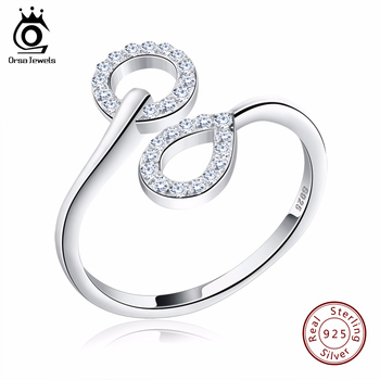 ORSA JUWELEN Echtem 925 Sterling Silber Frauen Ringe mit AAA Österreichischen Zirkonia Hochzeit Bands Ring Schmuck für Dame SR09