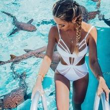 FIGOBELL Marke Einteilige Badeanzug Bandage Bademode Frauen Body Weiß Schwimmen Badeanzug Beachwear Sommer Monokini Weiblich
