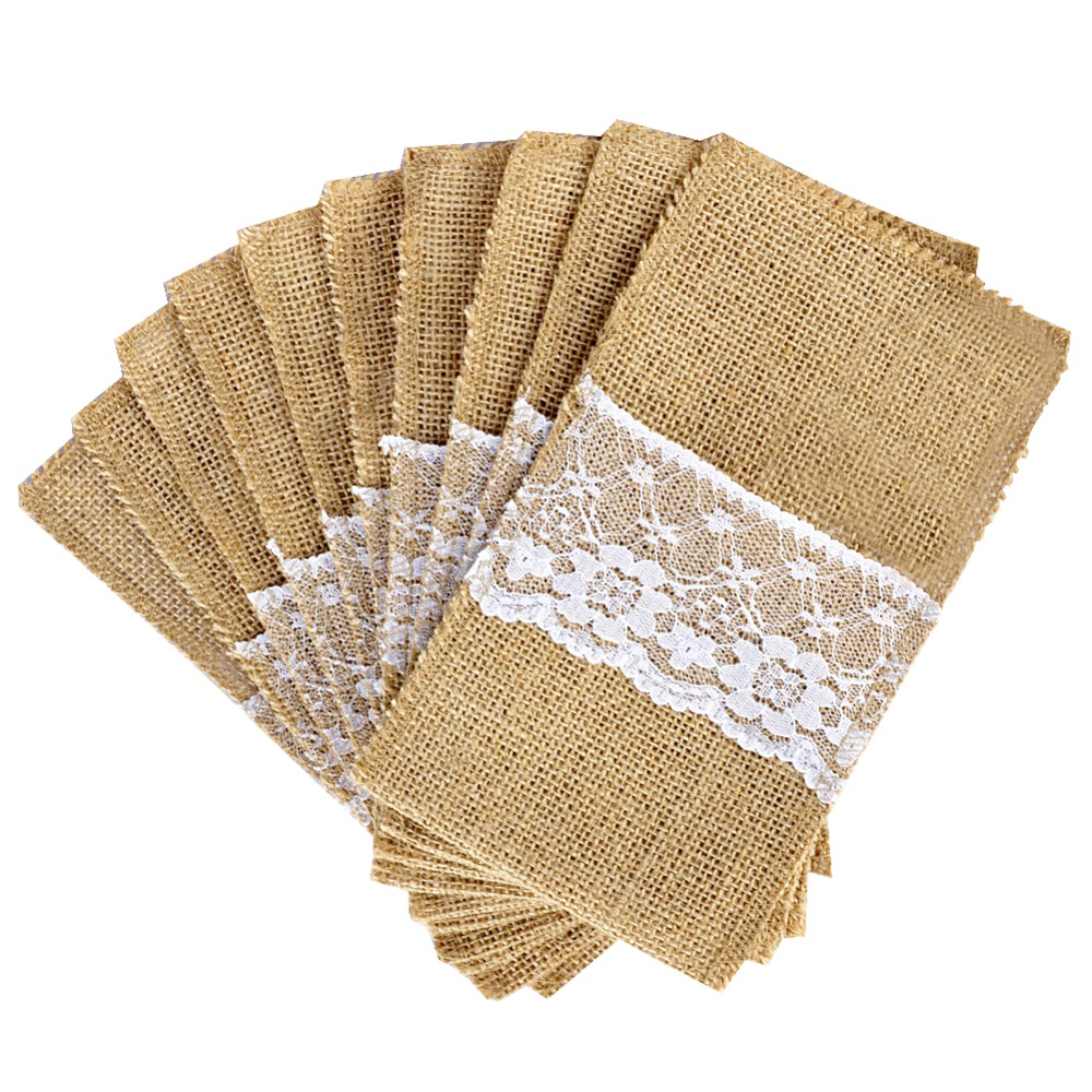 RODE 100 Jute Burlap Pouch Lace Bag Wedding Party Home Dinner Tableware SuppliesRODE 100 Jute Burlap Pouch Lace Bag Wedding Party Home Dinner Tableware Supplies