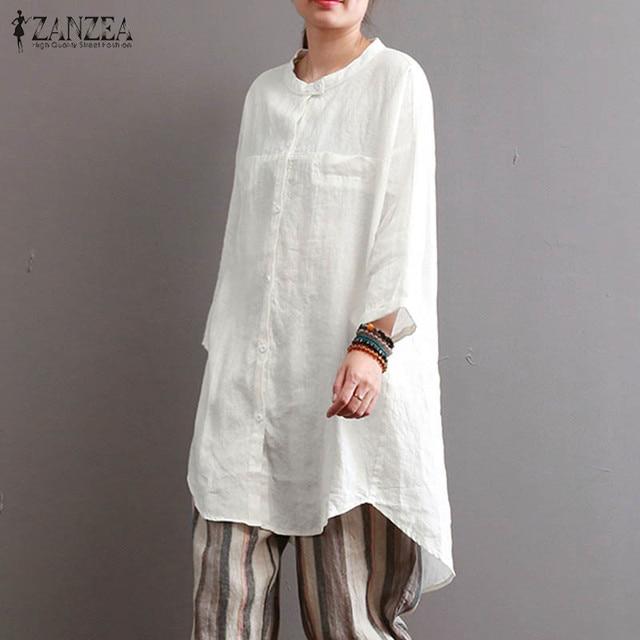 cd62f058d52c3 ZANZEA 2018 Women Cotton Linen Work Shirt Autumn Fashion Oversized Solid  Blusas Round Neck 3 4 Sleeve Plus Size Blouse New Tops