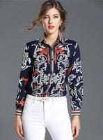 Women Blouses Shirts Fashion Elegant Buttons Runway Design Luxury Brand Floral Print Long Sleeve Ladies Tops