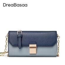 Women Messenger Bags Genuine Leather 2016 Fashion Mini Crossbody Chain Bag Flap Ladies Handbag High Quality DreaBasaa Women bag