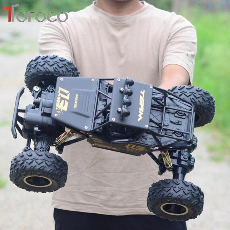TOFOCO nueva aleación cuatro ruedas Rc coche de escalada Dirt Bike Buggy Radio Control remoto coche de carreras de alta velocidad modelo juguetes para niños