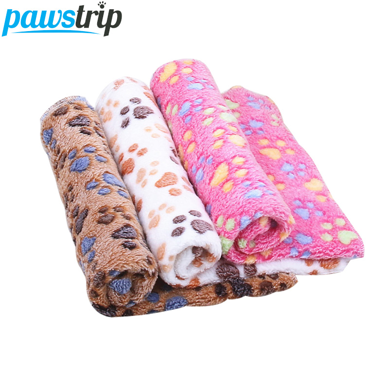 pawstrip Soft Coral Fleece Pet Dog Blanket Vinter Små Dog Beds Paw Print Sova Warm Cat Bed