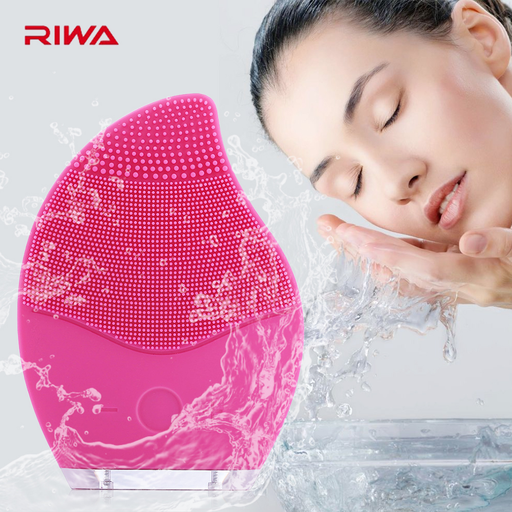 RIWA Electric Face Cleanser Vibrate Pore Clean Soft Silicone Cleansing Brush Massager Facial Vibration Skin Care Spa Massage 4 in 1 electric facial cleanser deep cleansing skin care blackhead removal washing brush massager face body exfoliator scrub