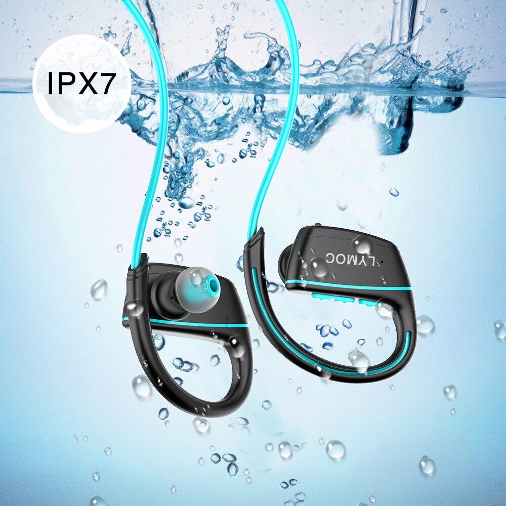 LYMOC IPX7 Bluetooth Écouteurs Réel De Natation Course à Pied Étanche Sans Fil Casque Casque Avec Micro pour IOS Android Téléphone