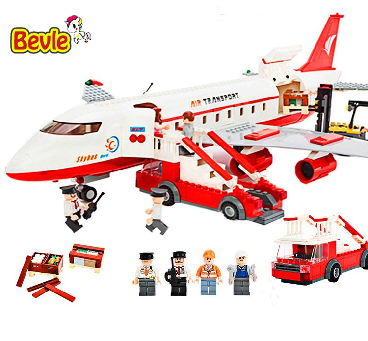 Gudi 8913 856Pcs City Series Air Bus Large Passenger Aircraft Building Blocks Compatible with Legoe AirPlane Toys gudi city international airport